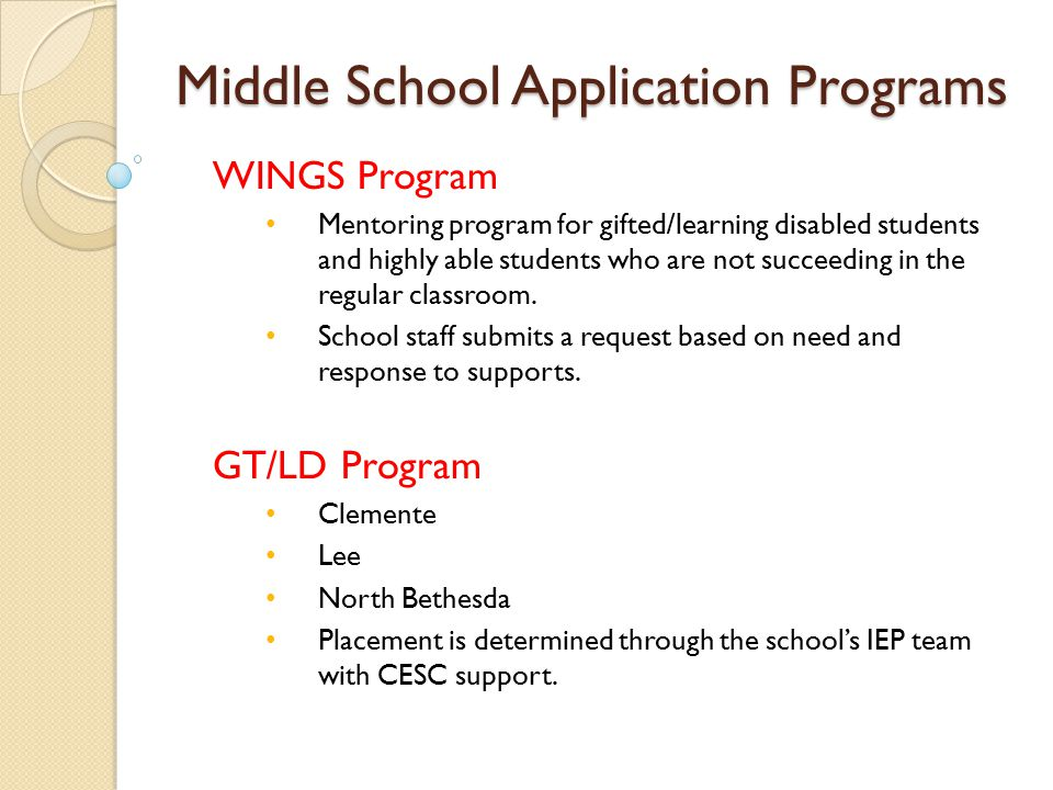 Middle School Application Programs