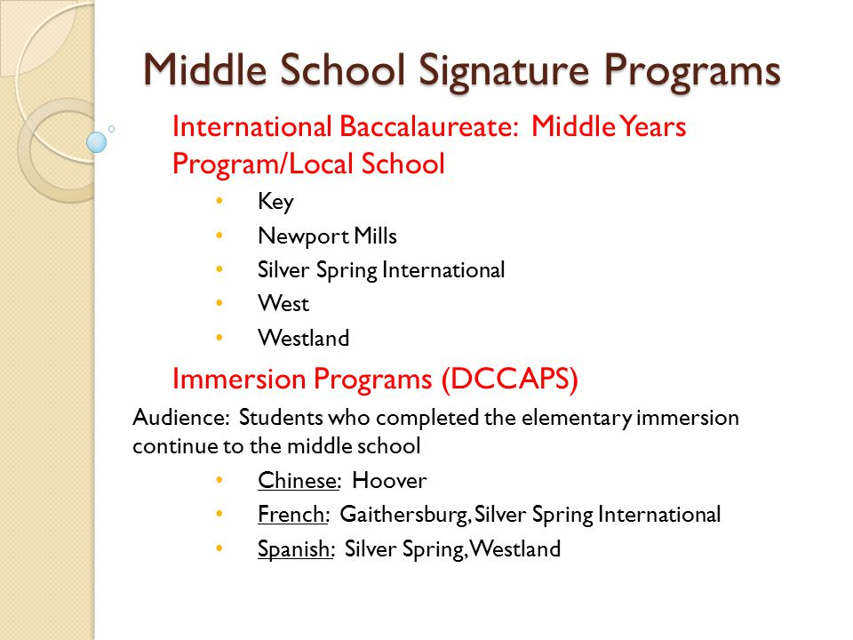 Middle School Signature Programs