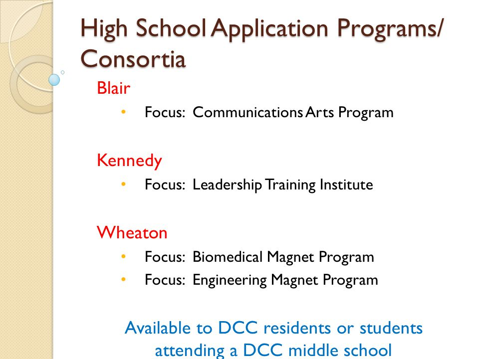 High School Application Programs/ Consortia