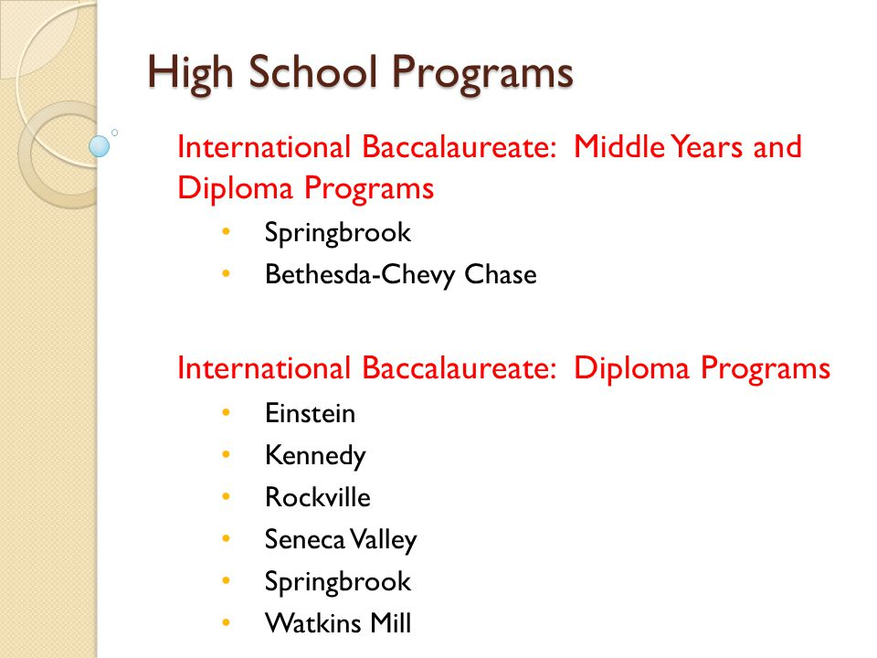 High School Programs International Baccalaureate: Middle Years and Diploma Programs. Springbrook.