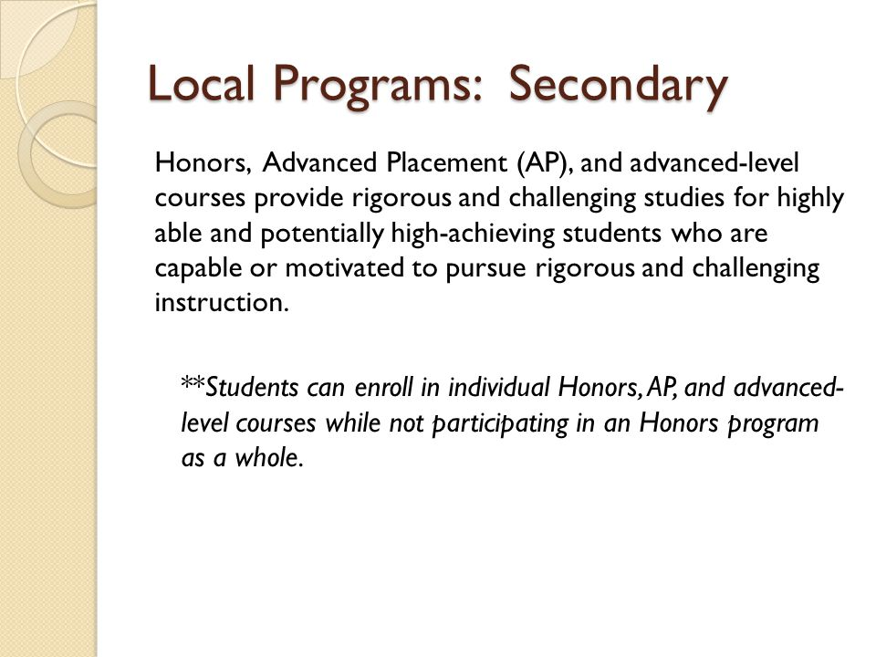 Local Programs: Secondary