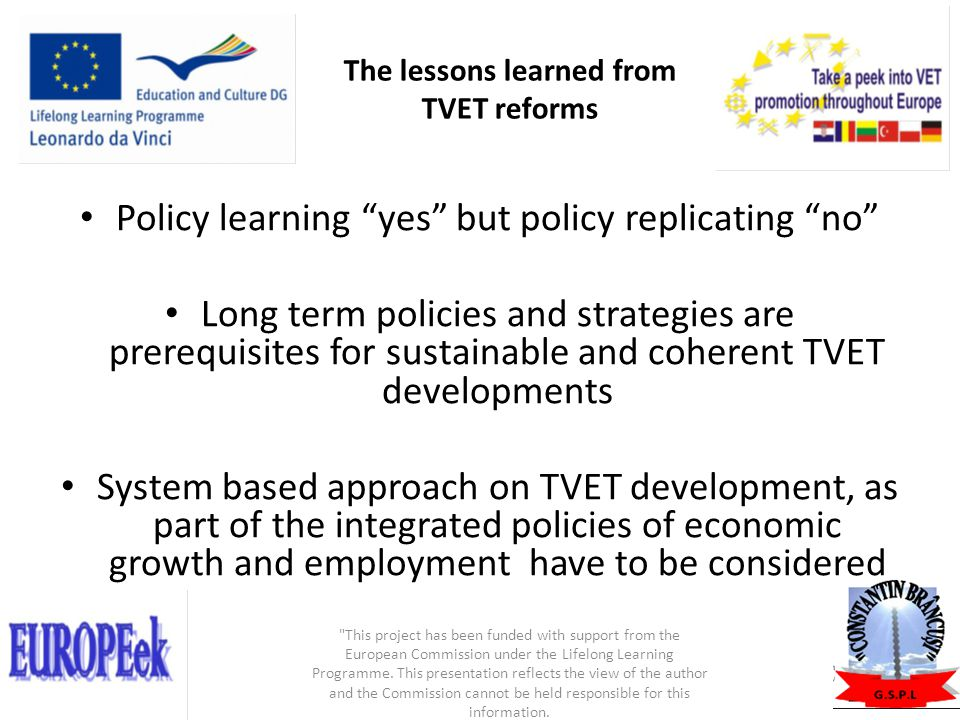 The lessons learned from TVET reforms