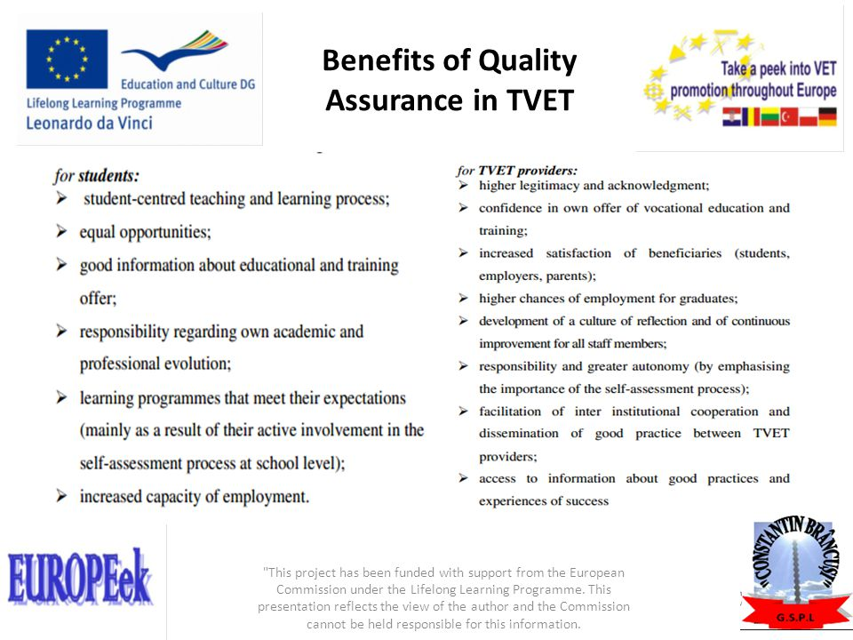 Benefits of Quality Assurance in TVET