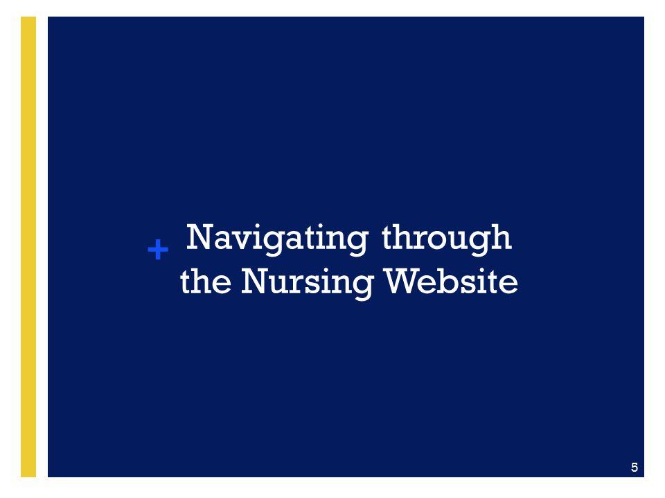Navigating through the Nursing Website