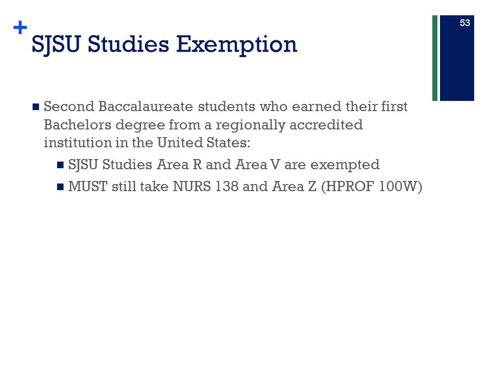 SJSU Studies Exemption