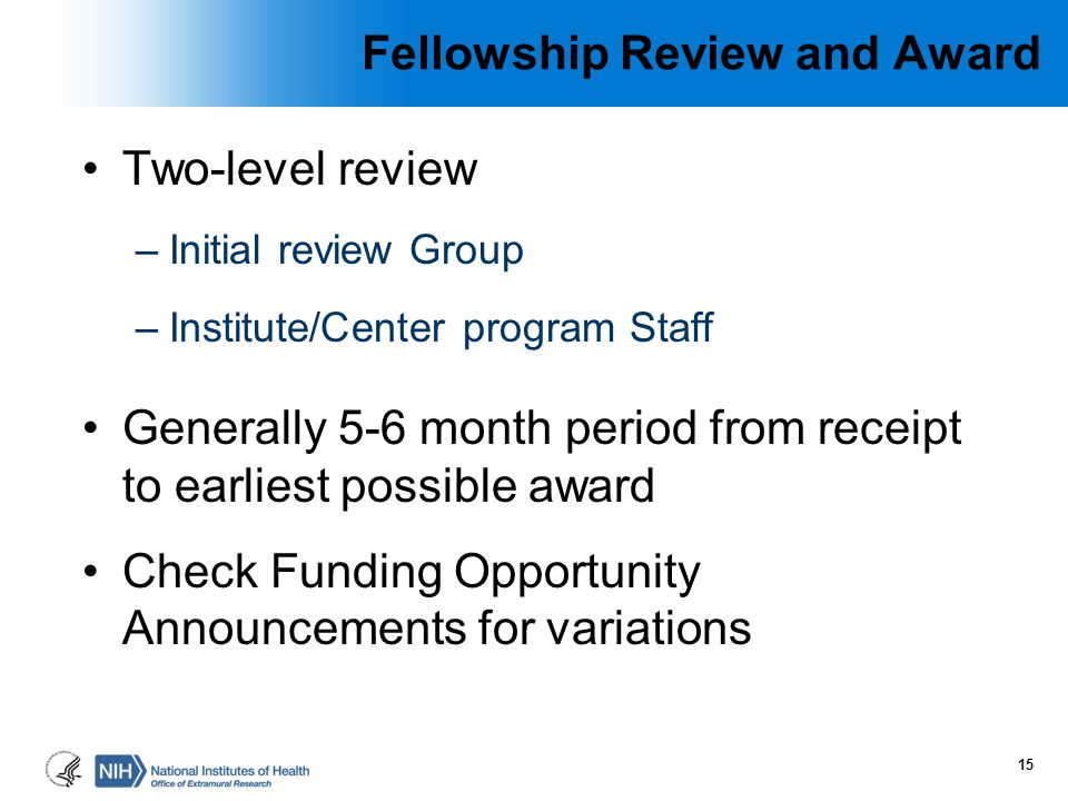 Fellowship Review and Award