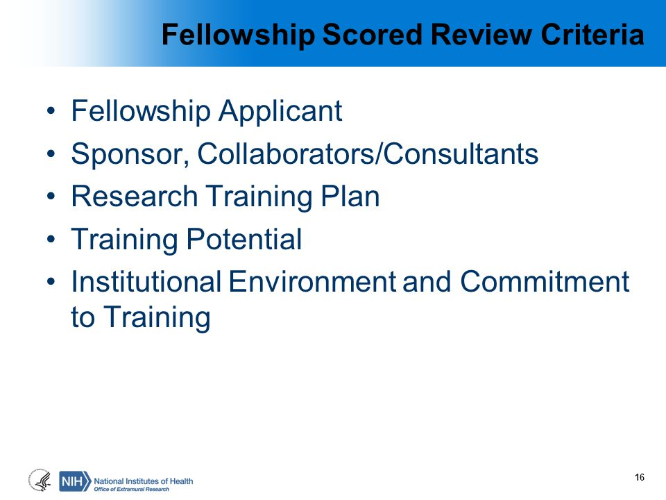 Fellowship Scored Review Criteria