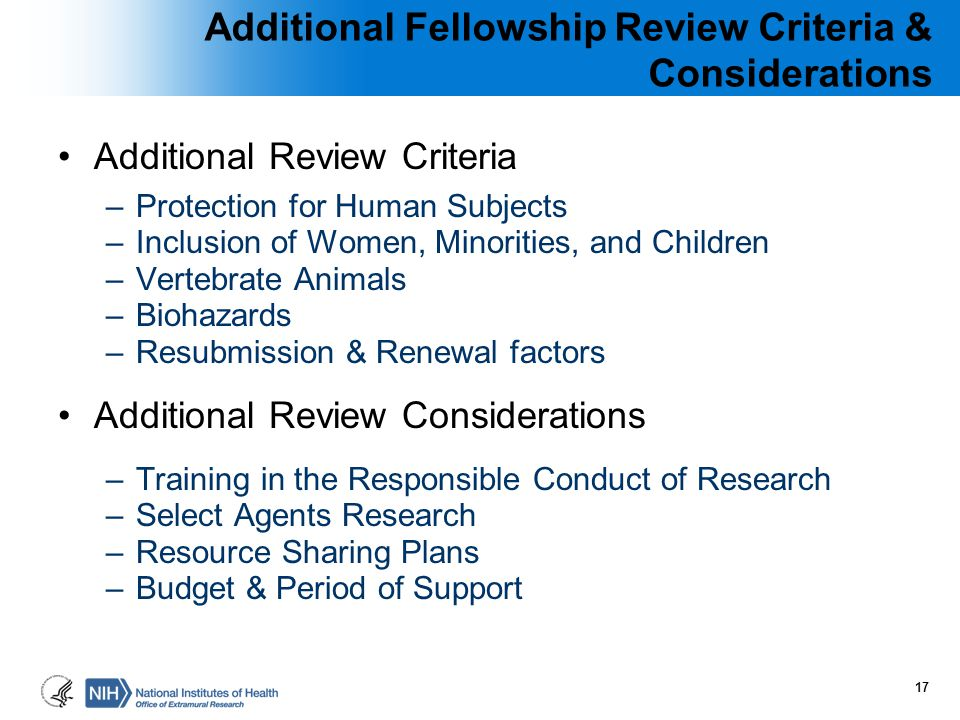 Additional Fellowship Review Criteria & Considerations