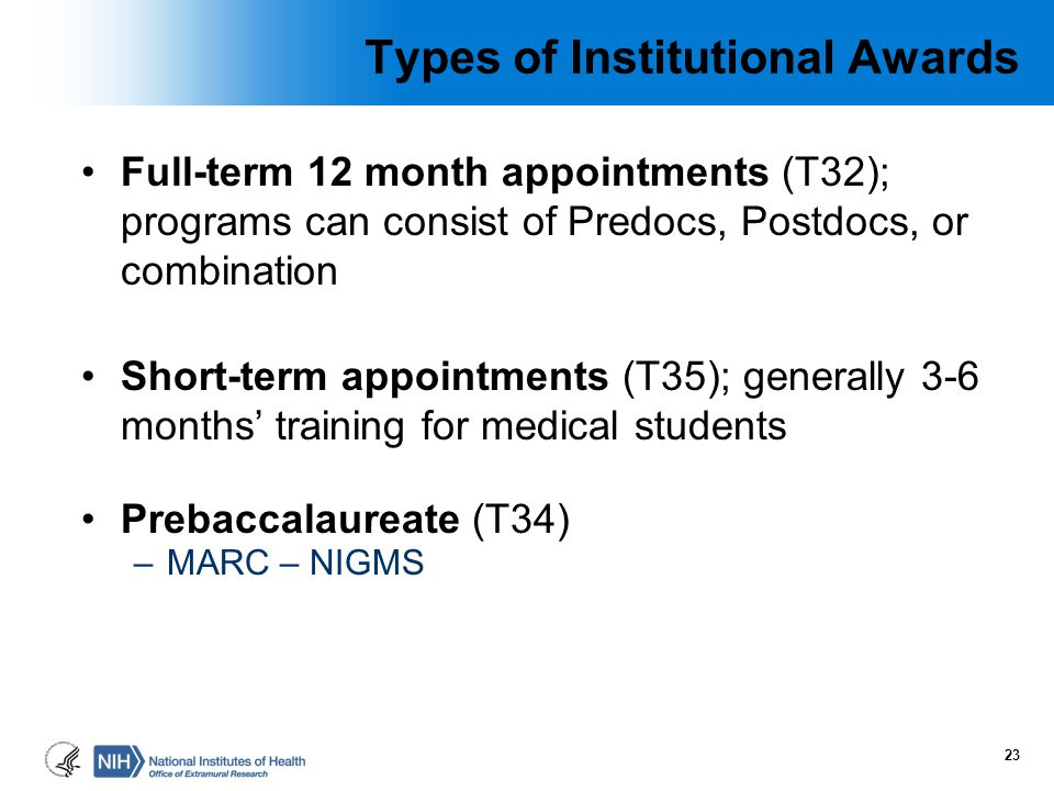 Types of Institutional Awards