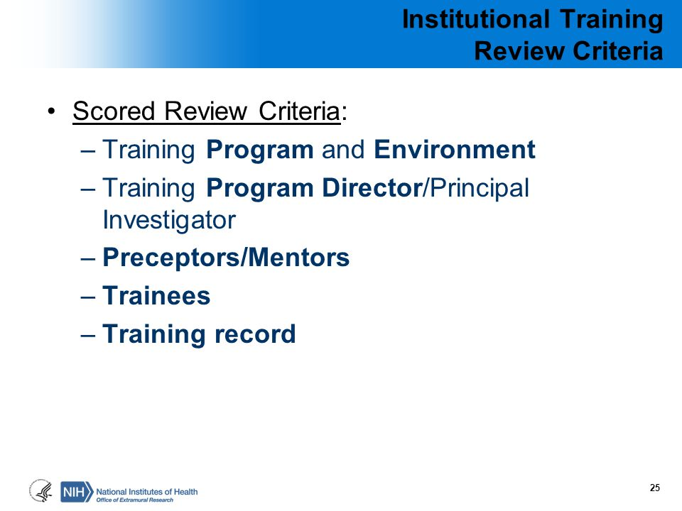 Institutional Training Review Criteria