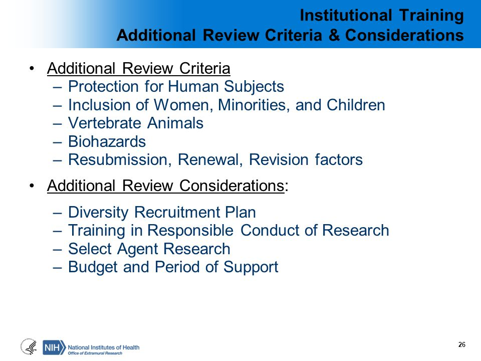 Institutional Training Additional Review Criteria & Considerations