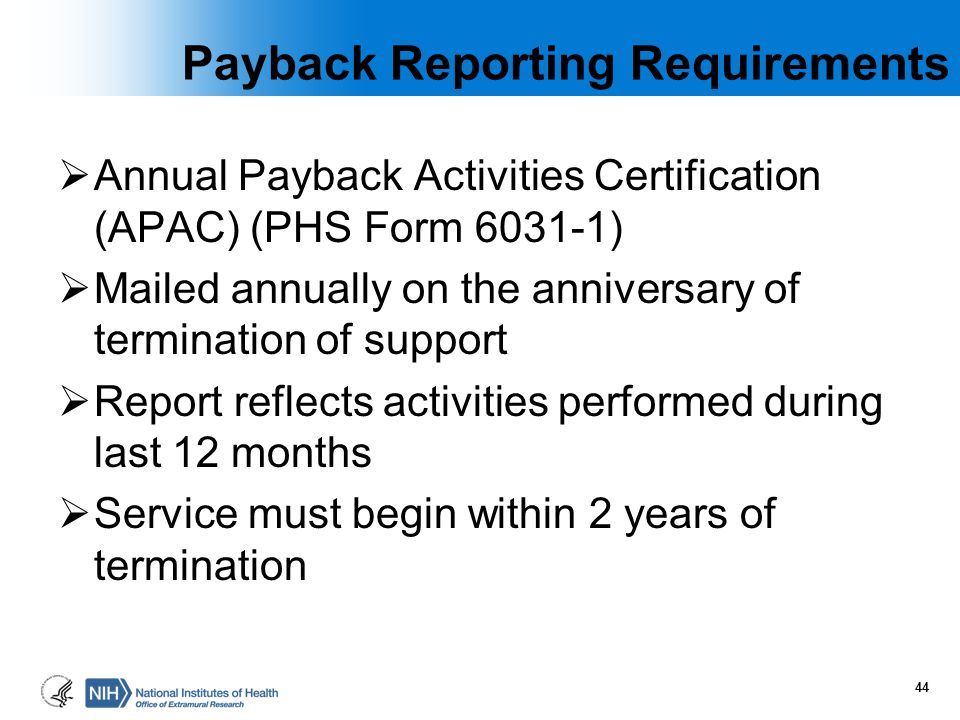 Payback Reporting Requirements