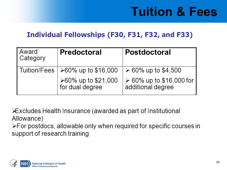 Tuition & Fees Tuition & fees separately reimbursed when applicable