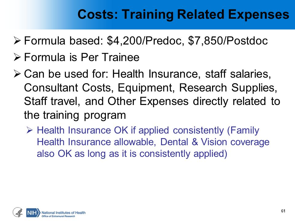 Costs: Training Related Expenses
