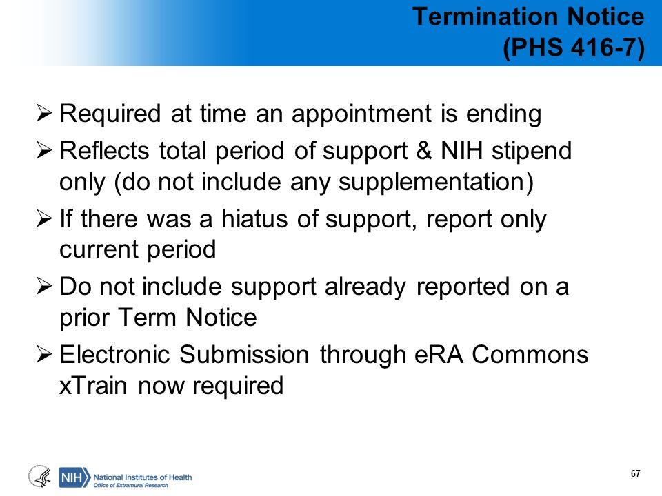 Termination Notice (PHS 416-7)