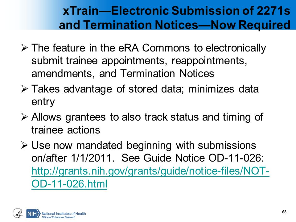 xTrain—Electronic Submission of 2271s and Termination Notices—Now Required