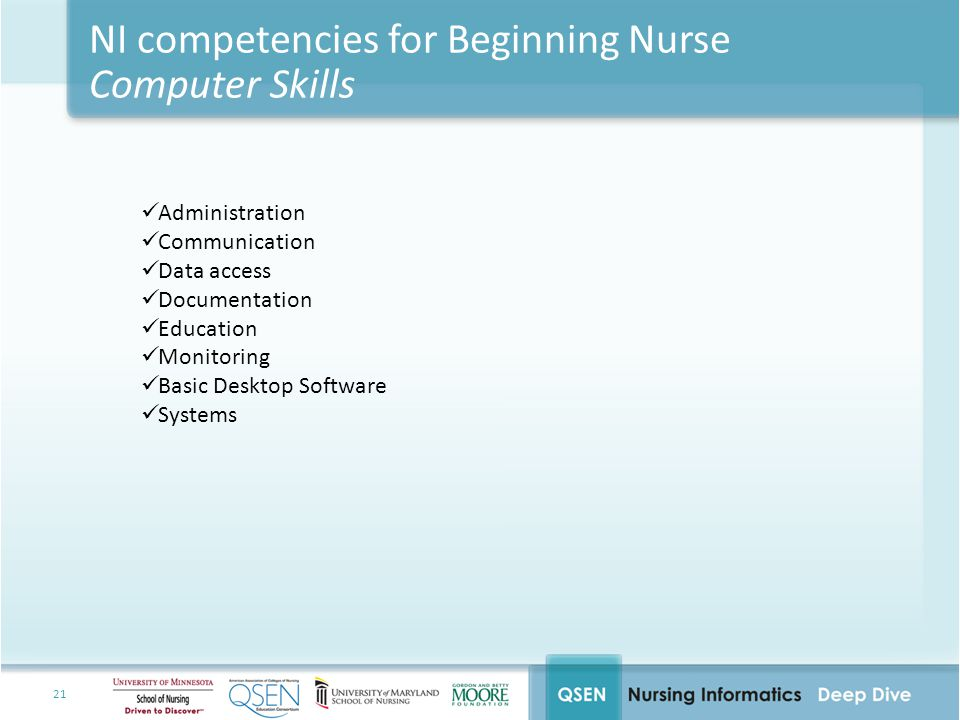 NI competencies for Beginning Nurse Computer Skills