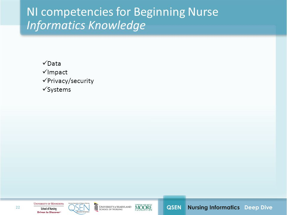 NI competencies for Beginning Nurse Informatics Knowledge
