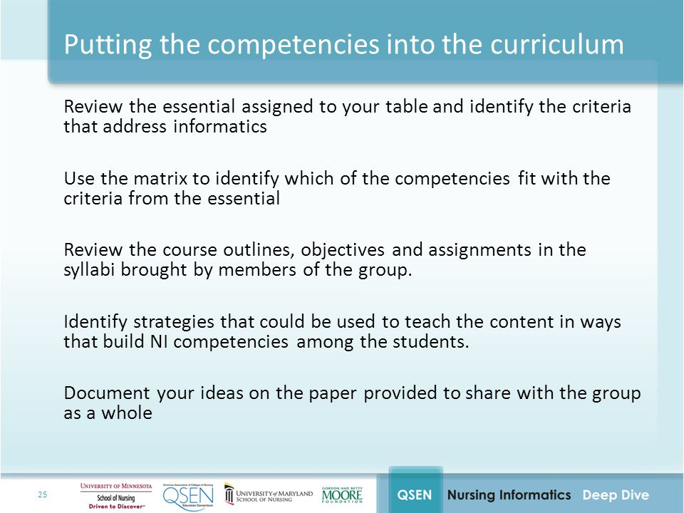 Putting the competencies into the curriculum