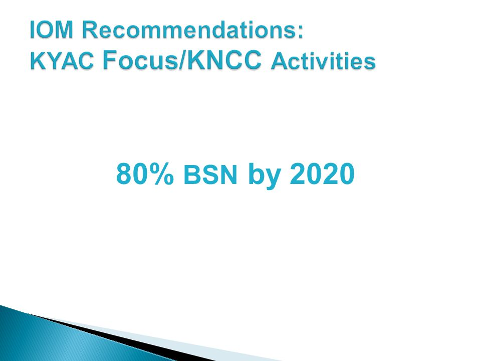 IOM Recommendations: KYAC Focus/KNCC Activities