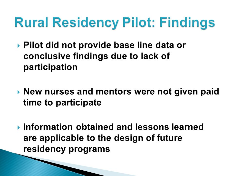 Rural Residency Pilot: Findings