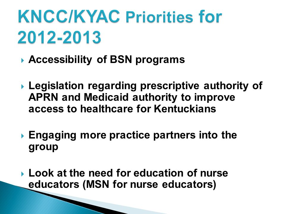 KNCC/KYAC Priorities for 2012-2013
