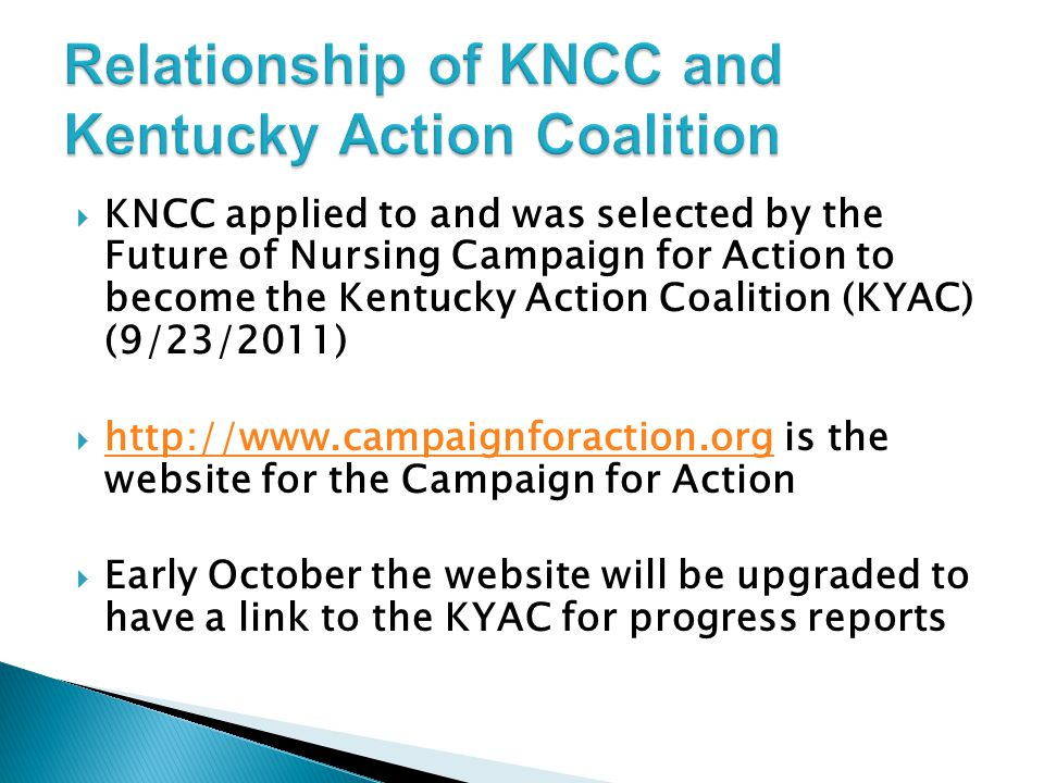 Relationship of KNCC and Kentucky Action Coalition