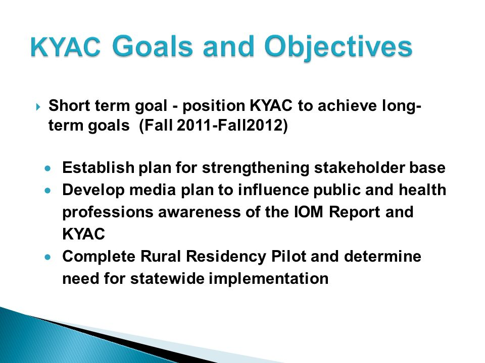 KYAC Goals and Objectives