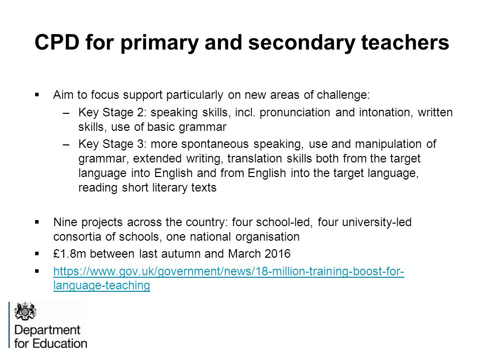 CPD for primary and secondary teachers
