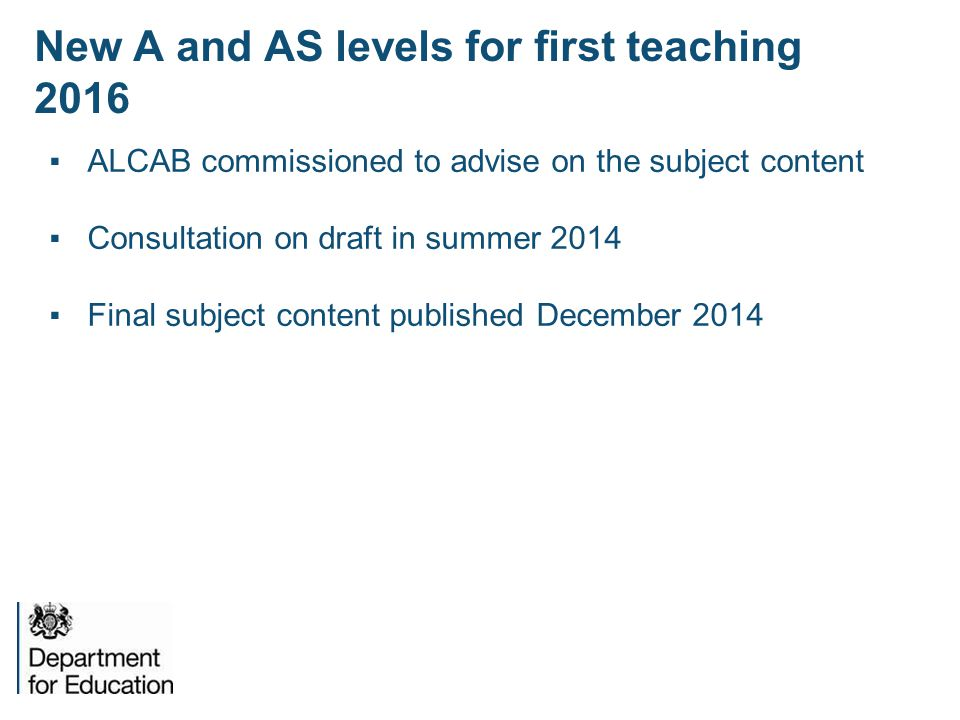 New A and AS levels for first teaching 2016