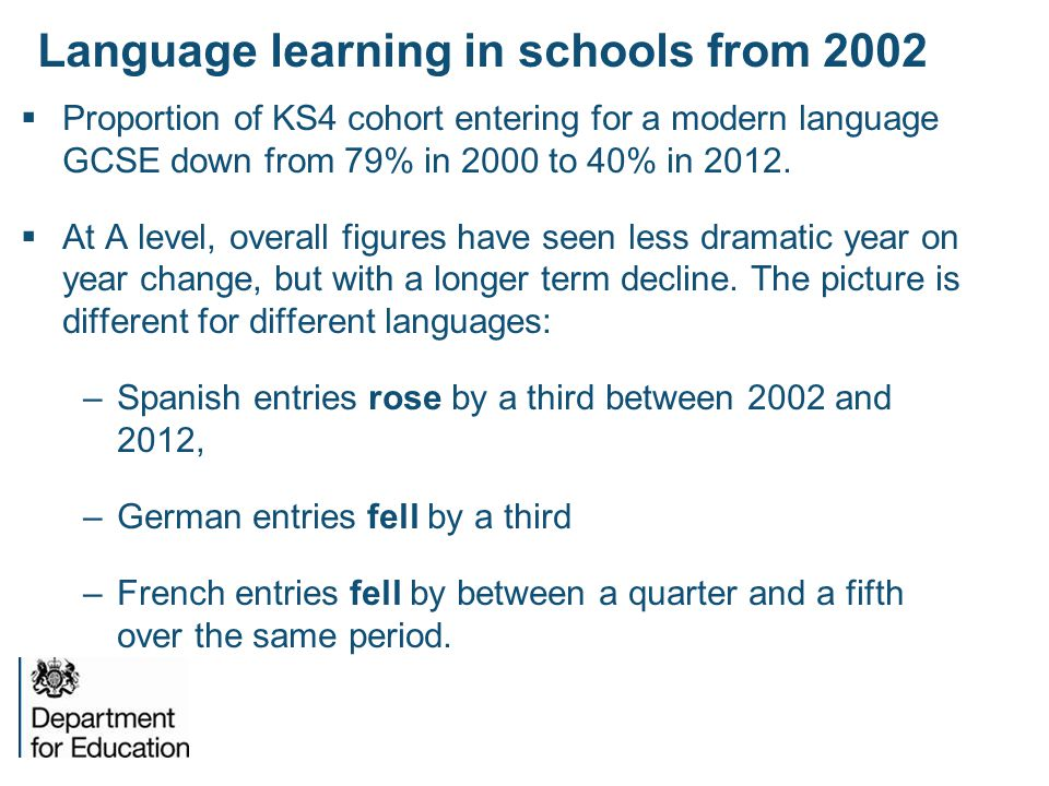 Language learning in schools from 2002
