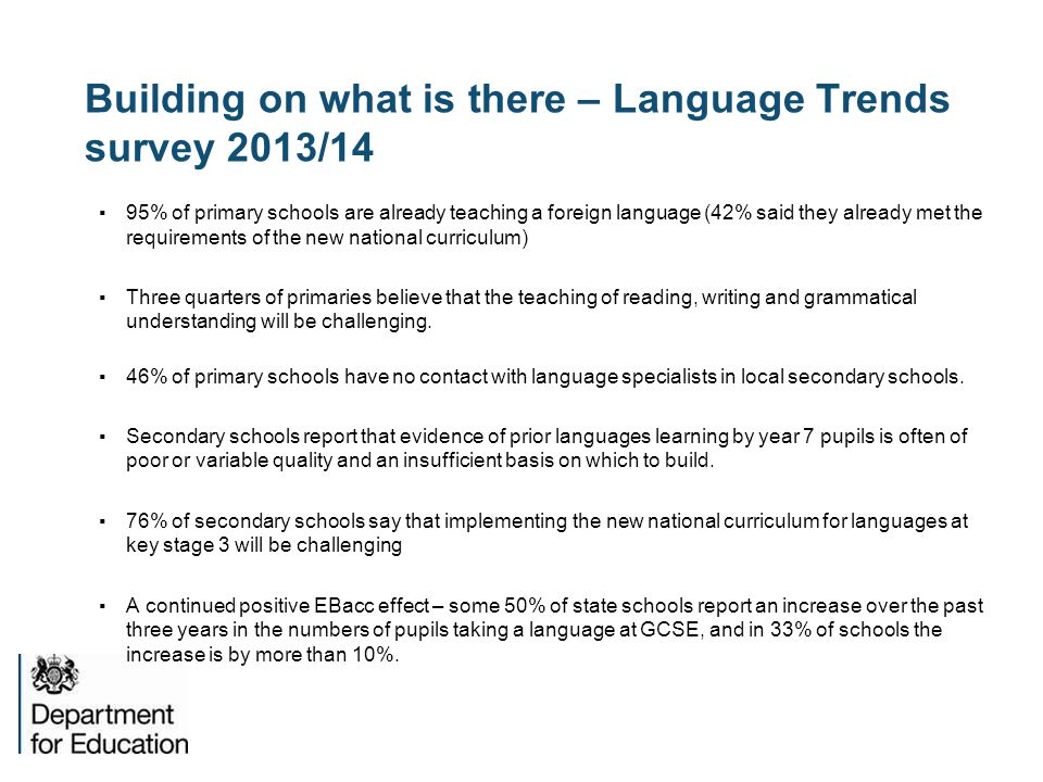 Building on what is there – Language Trends survey 2013/14