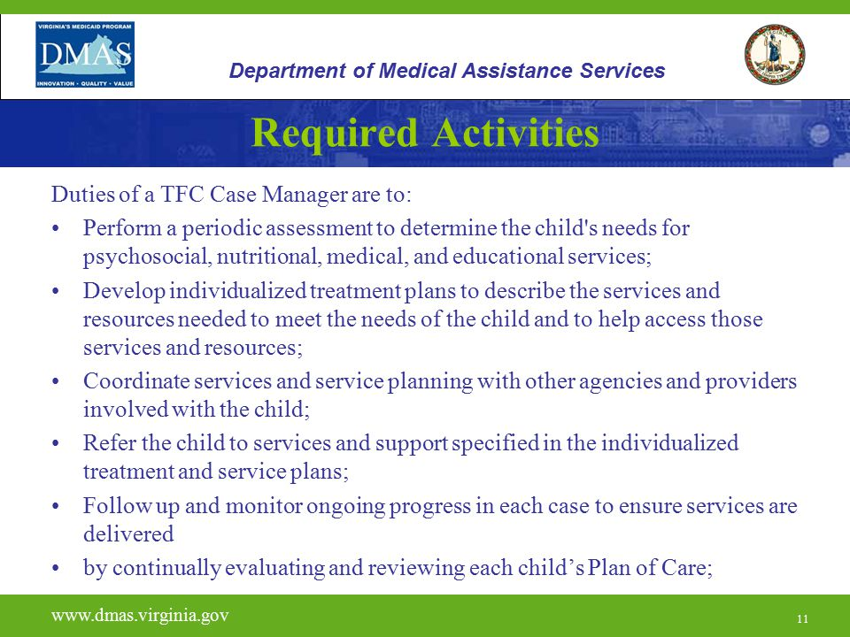 Required Activities Duties of a TFC Case Manager are to: