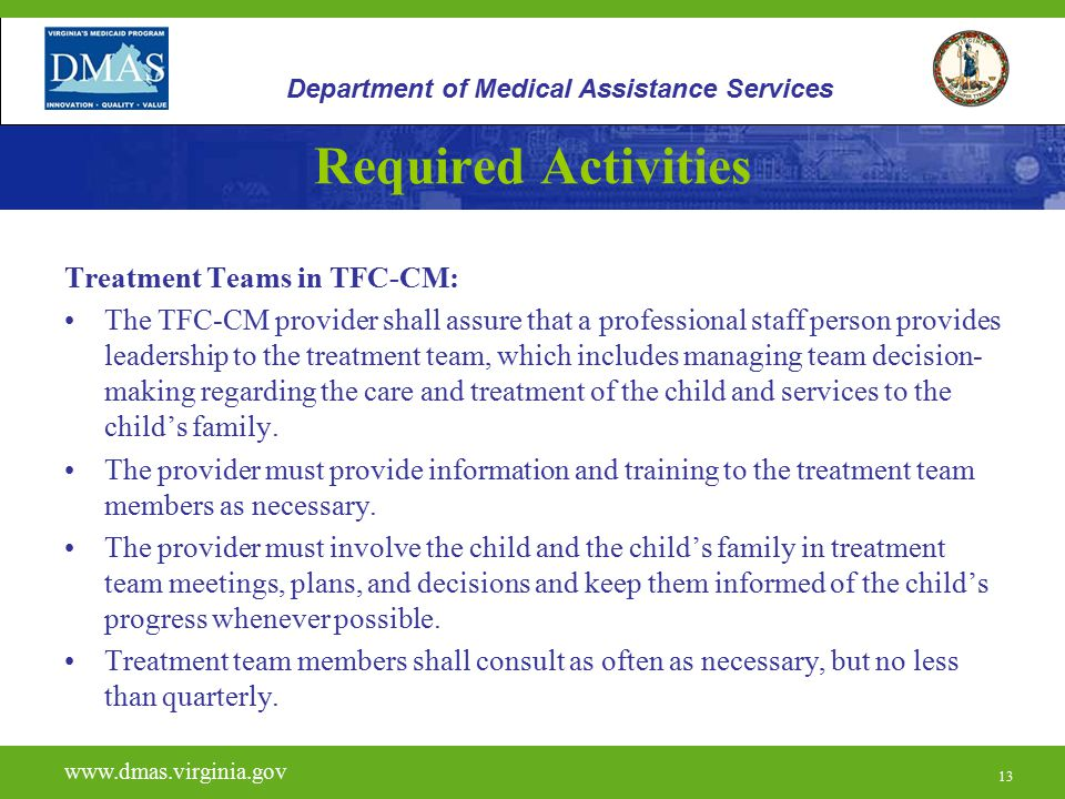 Required Activities Treatment Teams in TFC-CM: