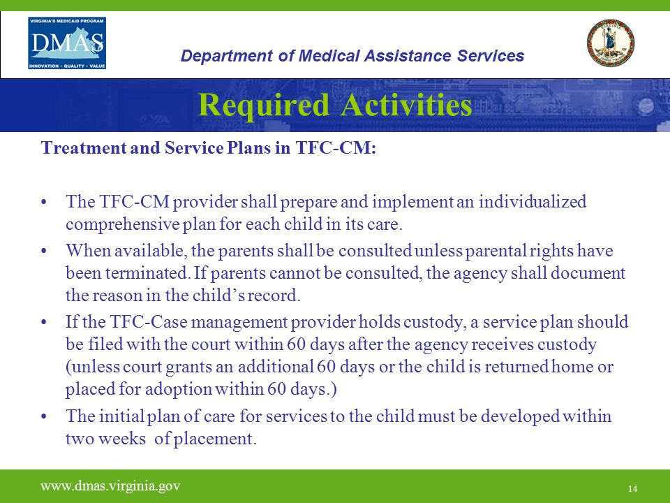 Required Activities Treatment and Service Plans in TFC-CM: