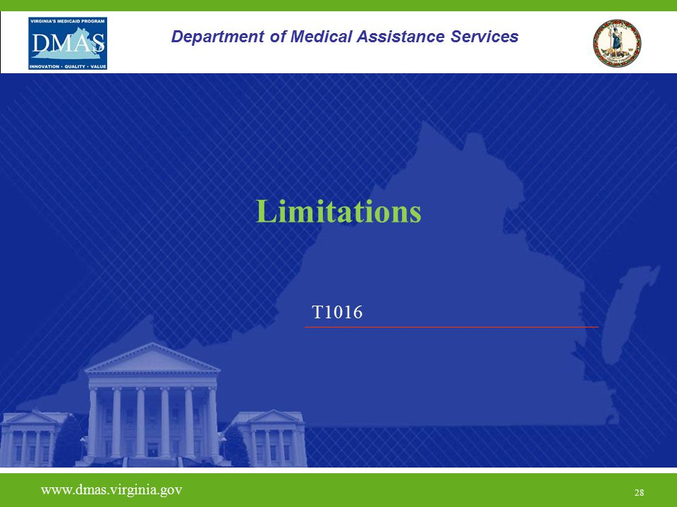Limitations T1016 Department of Medical Assistance Services