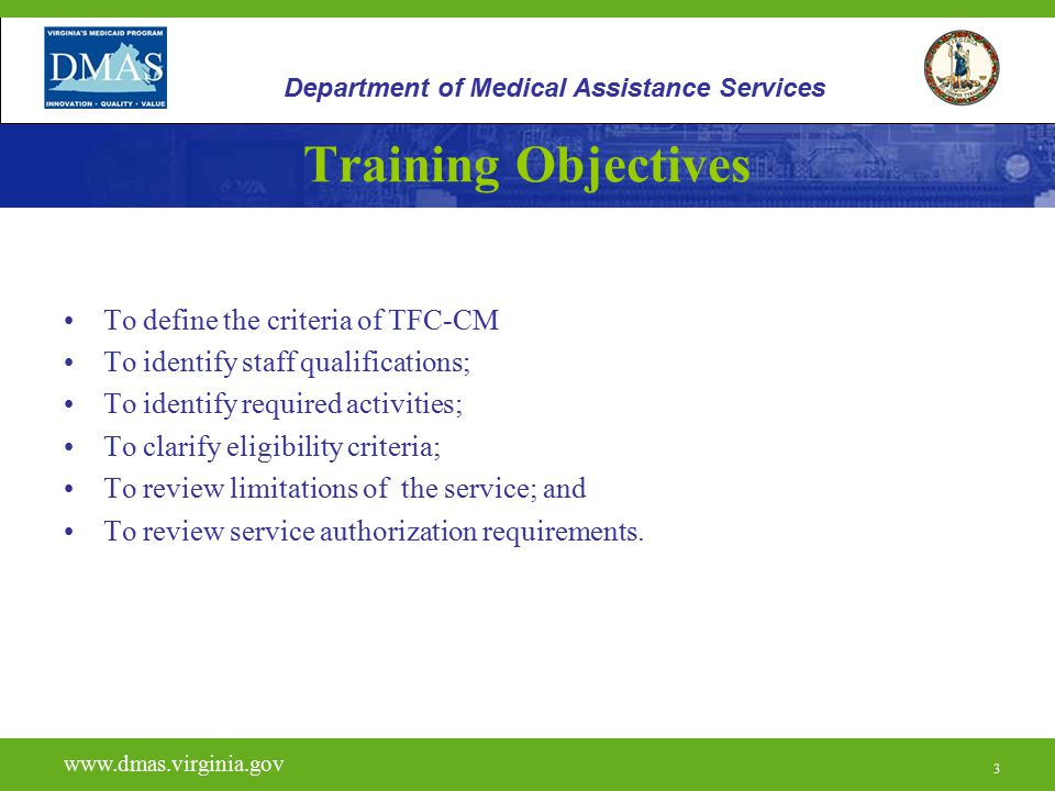 Training Objectives To define the criteria of TFC-CM