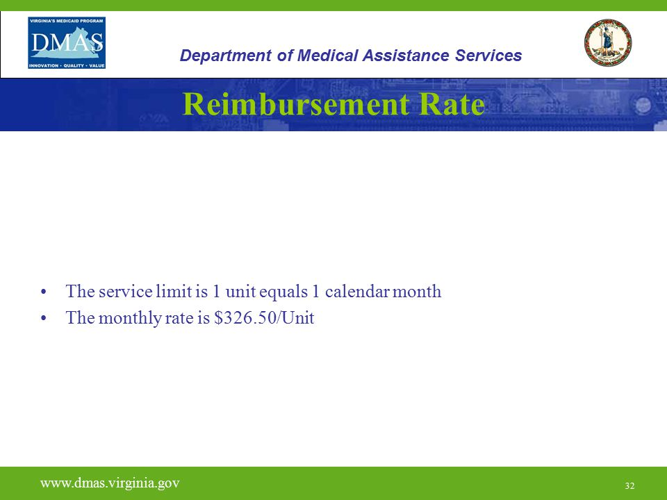 Reimbursement Rate The service limit is 1 unit equals 1 calendar month
