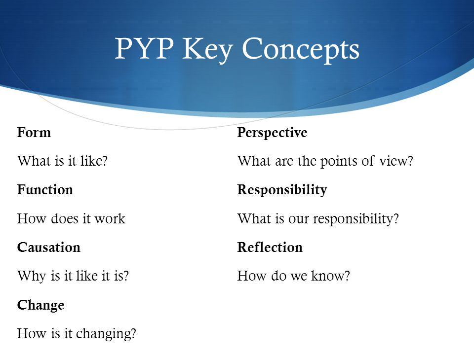 PYP Key Concepts Form Perspective What is it like