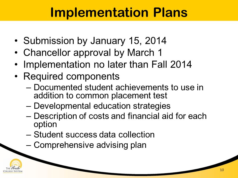 Implementation Plans Submission by January 15, 2014