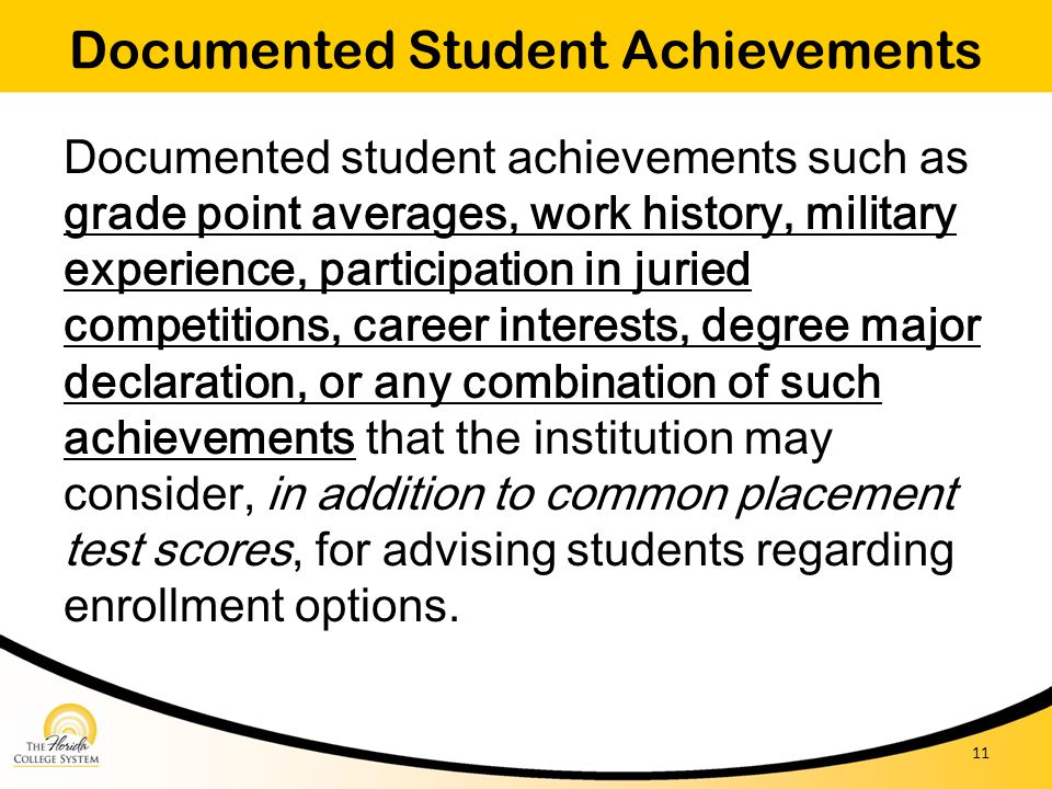 Documented Student Achievements