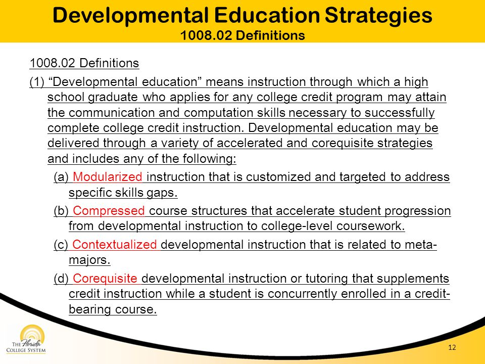 Developmental Education Strategies 1008.02 Definitions