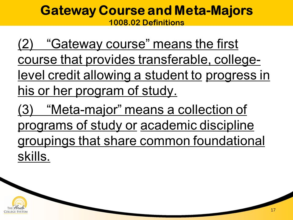 Gateway Course and Meta-Majors 1008.02 Definitions