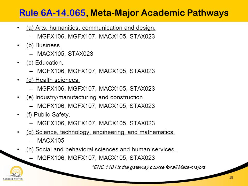 Rule 6A-14.065, Meta-Major Academic Pathways
