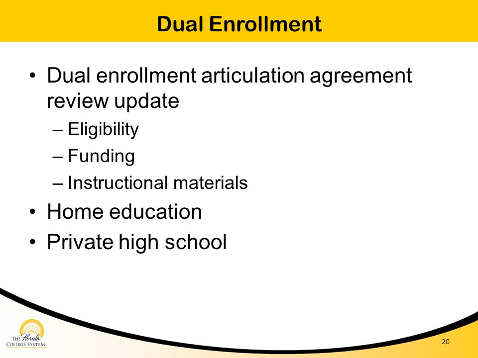 Dual enrollment articulation agreement review update