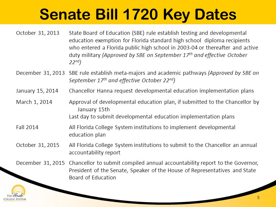 Senate Bill 1720 Key Dates October 31, 2013
