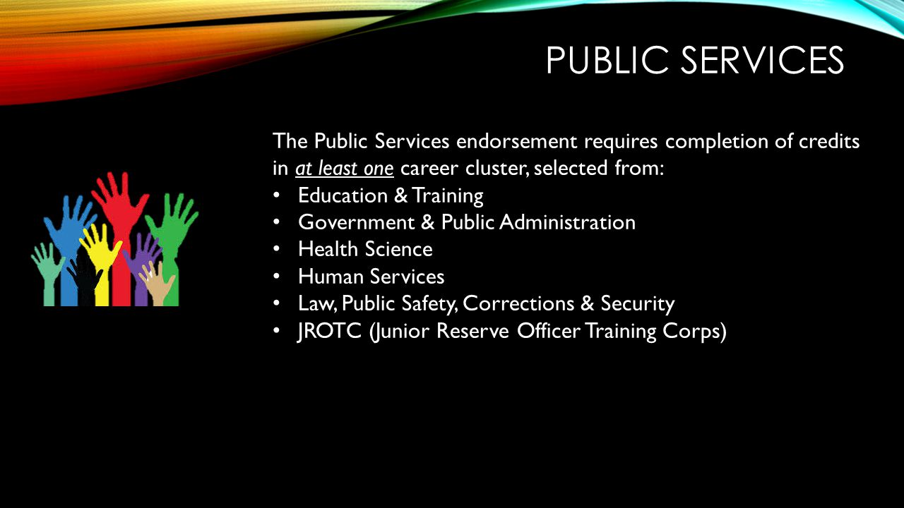 Public services The Public Services endorsement requires completion of credits in at least one career cluster, selected from: