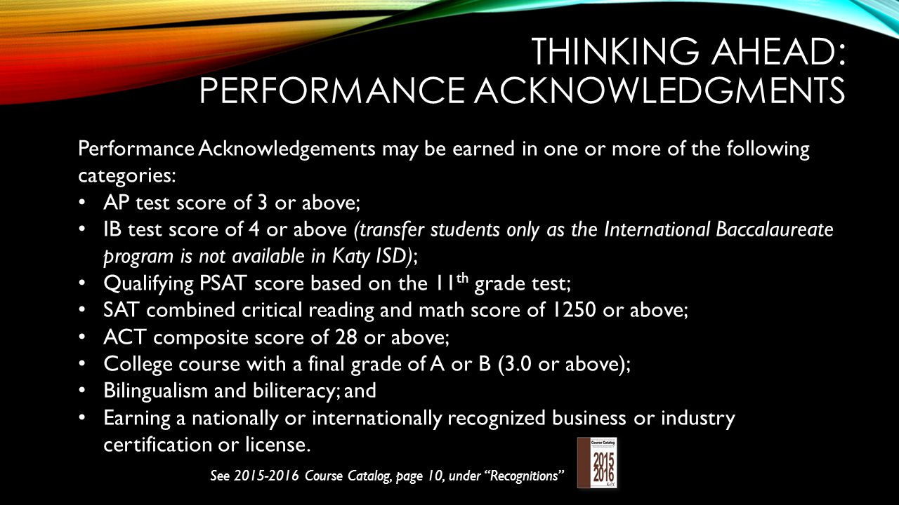 Thinking ahead: performance acknowledgments