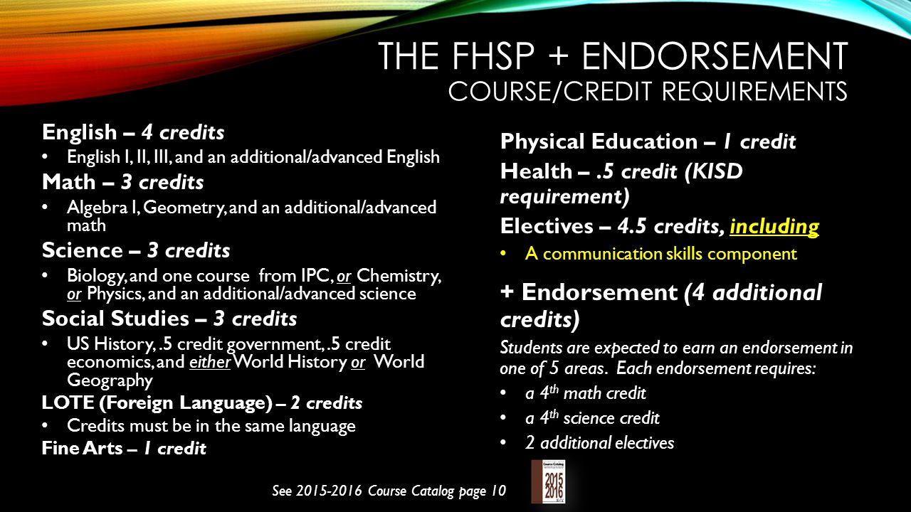 The FHSP + Endorsement Course/credit requirements