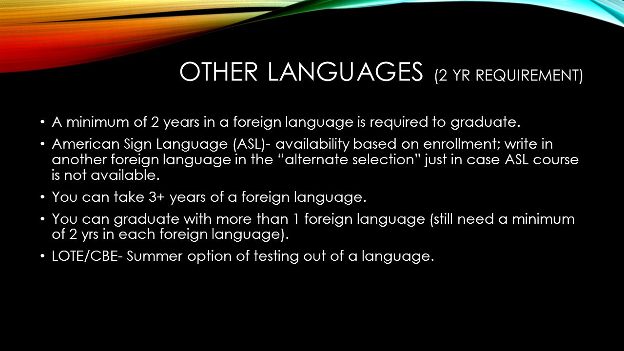 Other Languages (2 yr requirement)